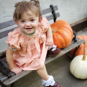Petit Ami Pumpkin Smocked Gingham Dress